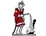 Desenho Bombeiro a sufocar fogo pintado por cauazinho