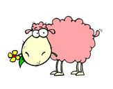 Desenho Ovelha com flor pintado por luzinda