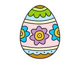 Desenho Ovo de páscoa com flores pintado por suelifranc