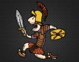 Desenho Soldado romano a corre pintado por letician