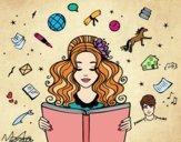 Desenho Dia do Livro pintado por RessDiva