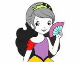 Desenho Princesa e leque pintado por Leogallo