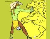 Desenho Gladiador contra leão pintado por ZecaDiniz
