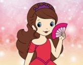 Desenho Princesa e leque pintado por marcieli