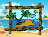 Desenho Quadro com palmeiras pintado por sonhadora