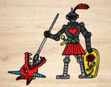 Desenho Cavaleiro São Jorge pintado por joel aquil