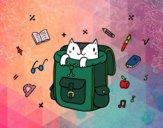 Desenho Gato em uma mochila pintado por ImShampoo