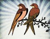 Desenho Par de pássaros pintado por Danguinha