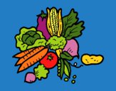 Desenho verduras pintado por mariafaro