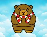Desenho Urso em inverno pintado por dinho