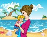 Mãe levando o bebê
