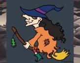 Bruxa em vassoura voadora