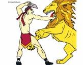 Desenho Gladiador contra leão pintado por Theo_2016