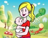 Em braços da mãe