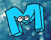 Desenho Letra M pintado por panda