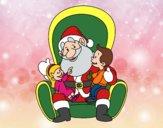 Desenho Papai Noel com crianças pintado por ImShampoo