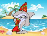 Desenho Tiburão surfista pintado por LLL321