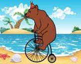 Desenho Urso em uma bicicleta pintado por LLL321