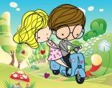 Desenho Amantes da motocicleta pintado por greicyrct
