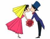 Marido e mulher se beijando