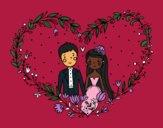 Desenho Casamento coração pintado por danielt