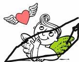 Cupido e coração com asas
