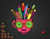 Desenho Copo animado com lápis pintado por novinha