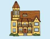Desenho Casa de dois andares com torre pintado por CamilaMR