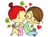 Desenho Dois jovens amantes pintado por luzinda