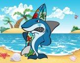 Desenho Tiburão surfista pintado por TONINH