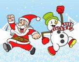 Desenho Papai Noel e boneco de neve de salto pintado por DunLin