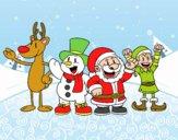 Desenho Papai Noel e seus amigos pintado por DunLin