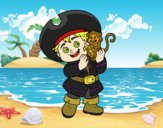 Desenho Menino do pirata e seu macaco pintado por jabuti
