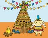 Desenho Coelho indiano pintado por Craudia