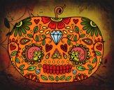Desenho Abóbora de dia dos mortos pintado por Craudia