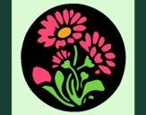 Desenho Gravado com flores pintado por Craudia