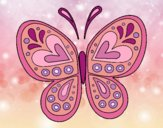 Desenho Mandala borboleta pintado por Sillvana