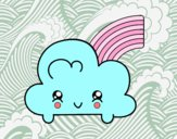 Desenho Nuvem com arco-íris de Kawaii pintado por isalu