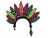 Desenho Cabeça coroa de penas indiana pintado por zoi12