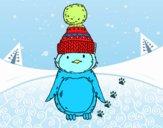 Pinguim com chapéu do inverno