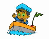 Desenho Barco e capitão pintado por Vitinho07