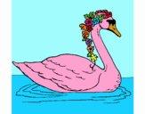 Cisne com flores
