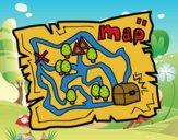 Desenho Mapa do tesouro pintado por LadyMcm