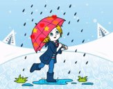 Menina com guarda-chuva na chuva