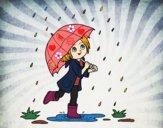 Desenho Menina com guarda-chuva na chuva pintado por Anninha09