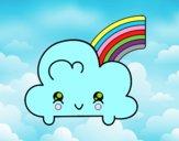 Nuvem com arco-íris de Kawaii