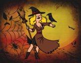 Desenho Bruxa com falcão pintado por ANALUMA