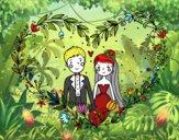 Desenho Casamento coração pintado por emillyh