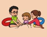 Desenho Família na praia pintado por Craudia