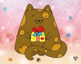 Gato com um presente